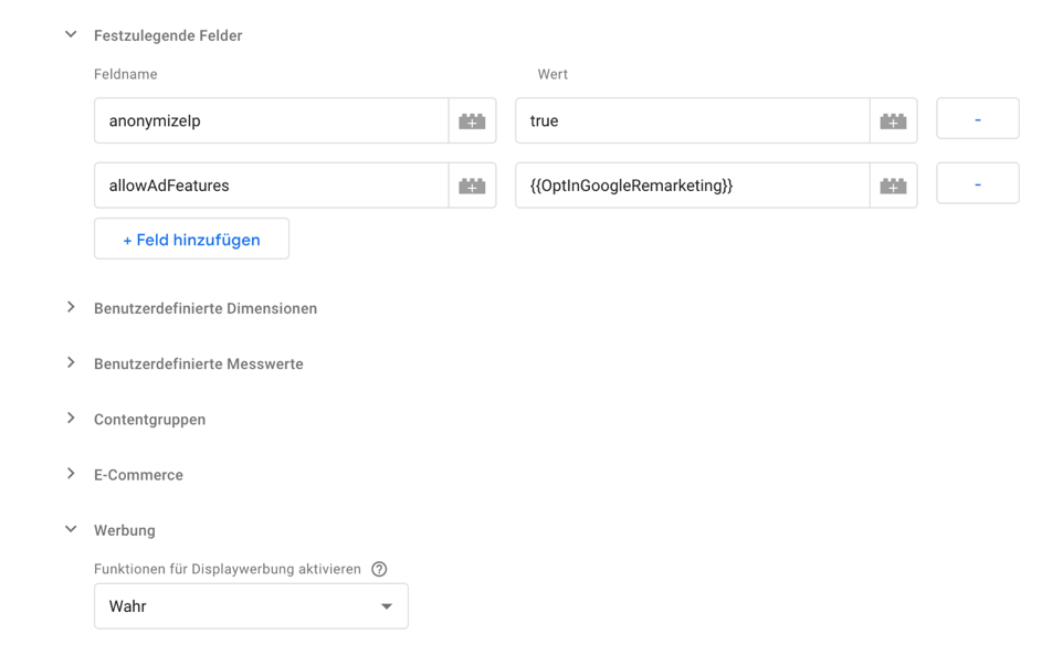 Allow Ad Features Tag Manager